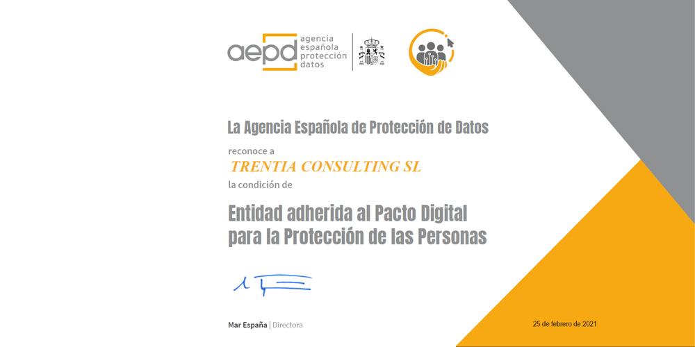 Trentia se suscribe al Pacto Digital con la AEPD