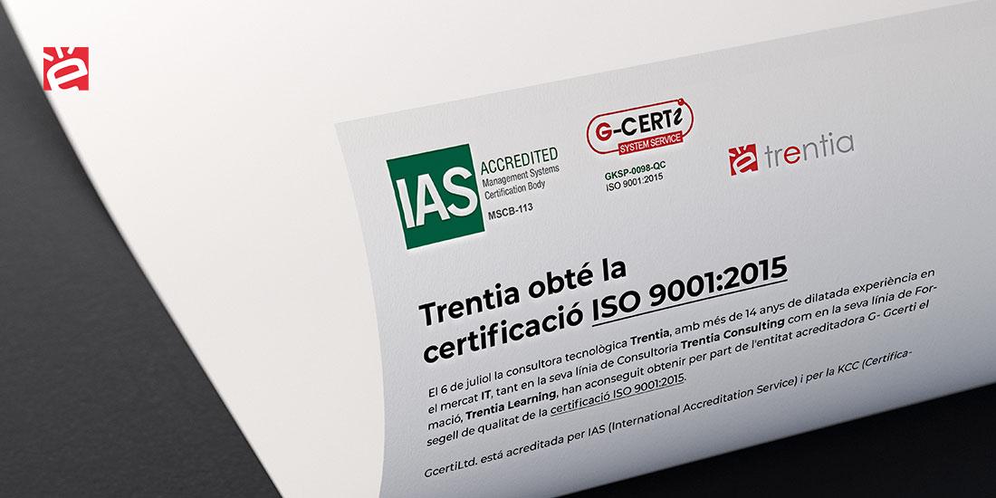 Trentia obté la certificació ISO 9001:2015